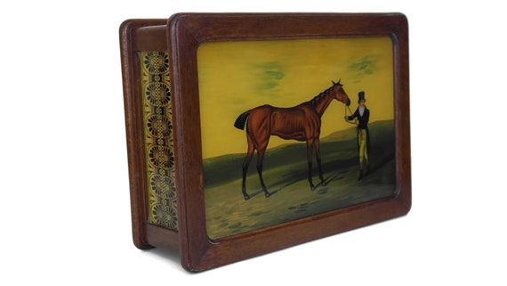 Vintage Mens Wood Valet Box with Horse and Rider Under Glass Painting