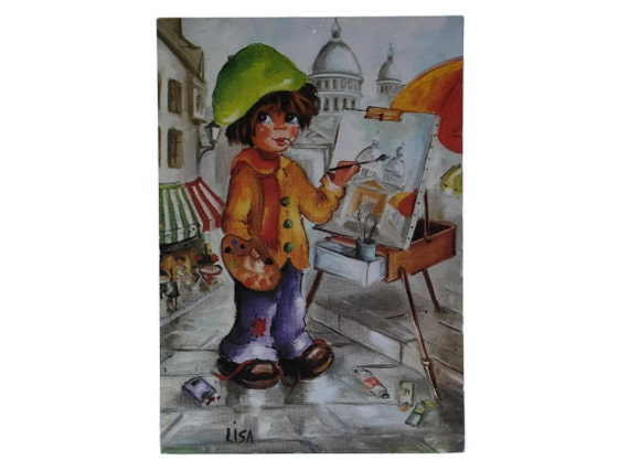 French Vintage Big Eye Print Postcard with Montmartre Artist.