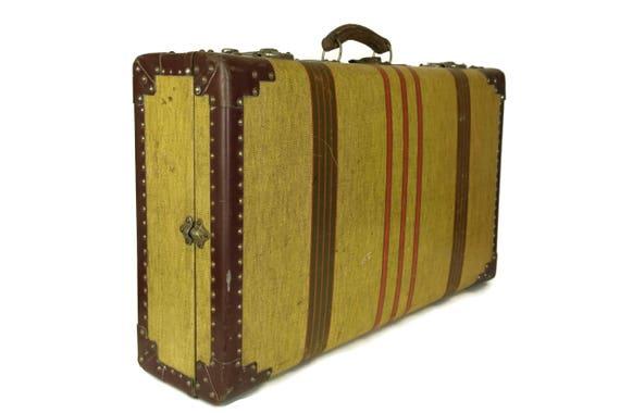 Antique Suitcase. 1920s French Stripe Canvas Hard Shell Luggage. Travel Decor. Yellow Storage Box.