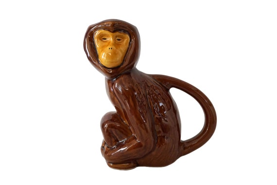 French Majolica Monkey Pitcher, Figural Pottery Animal Water Jug