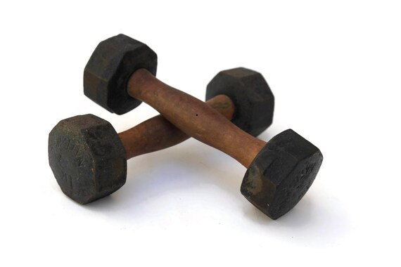 Antique French Hand Gym Weights, Vintage Sports Decor, Gift for Him