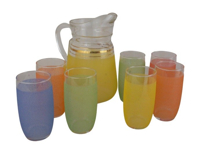 Mid Century Glass Pitcher and Tumbler Set with Frosted Surface, Retro Lemonade Service