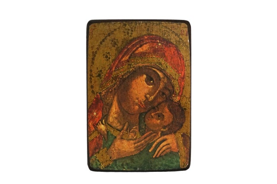 Greek Orthodox Madonna and Child Portrait Icon, Lady of Korsun Mary & Jesus Religious Art, Christian Decor and Gifts