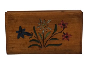 French Hand Painted Stamp Box with Flowers, Antique Carved Wooden Box, Postage Stamp Collection, Philatelist Gift