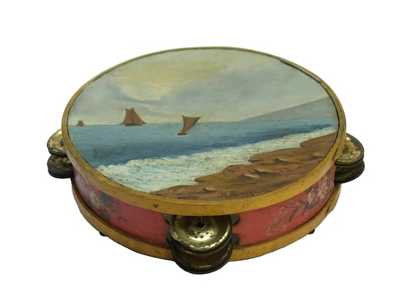 Antique French Hand Painted Tambourine, Seascape Painting with Sailing Boats, Musical Instrument
