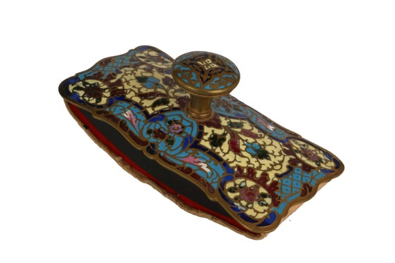 Antique French Champleve Ink Blotter, Bronze and Enamel Desk Accessory