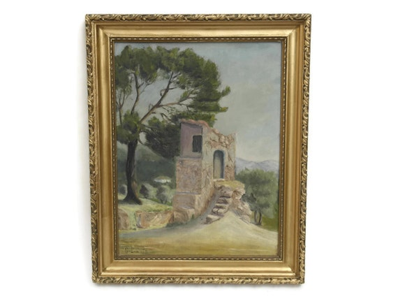 Vintage Provence Landscape Oil Painting, French Country Art, Mediterranean & Provencal Decor