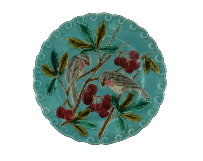 French Antique Majolica Bird Wall Plate with Robins and Cherries by Sarreguemines, Country Home Decor