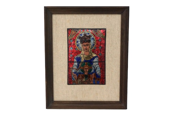 French Enamel Wall Hanging with Christian Madonna and Child, Saint Mary and Jesus Portrait Art
