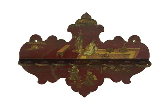 Antique French Pipe Rack Stand, Japanese Lacquer Napoleon III, Gift for Smoker, Oriental Home and Library Decor