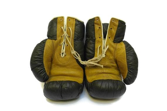 Vintage Leather Boxing Gloves, Old Collectible Fighting Accessories, Gym and Sports Decor, Gift for Him