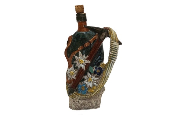 Vintage Swiss Alps Souvenir Ceramic Liquor Decanter with Flask, Edelweiss Flowers, Mountain Climbing Rope and Axe