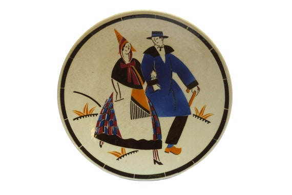 Art Deco Ceramic Plate with Alsace Couple by George Conde for KG Luneville, Souvenir French Faience