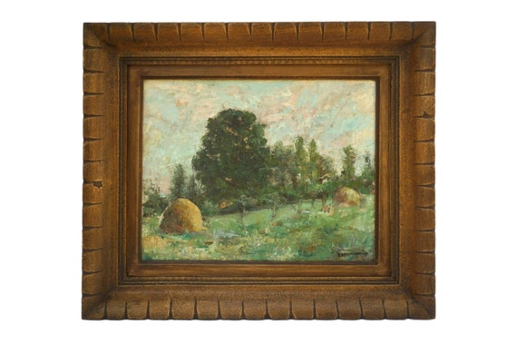 Antique French Impressionist Landscape Painting with Trees and Haystacks, Framed Scenic Country Art
