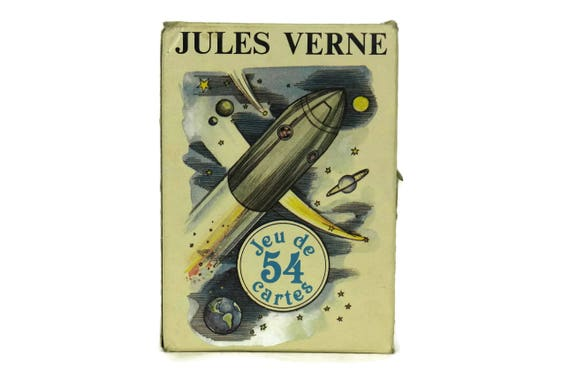 Jules Verne Playing Cards Deck, Vintage Pack of Cards by Grimaud in Box
