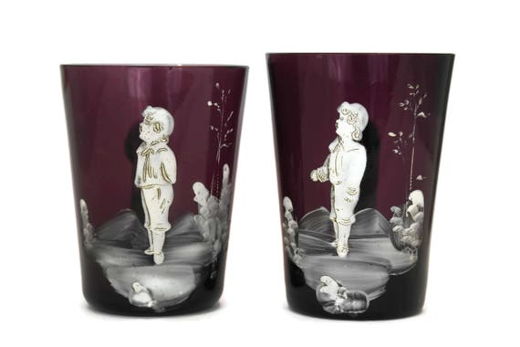 Antique Mary Gregory Amethyst Glass Cups, White Enameled Boy Portrait, Collectible Victorian Glassware