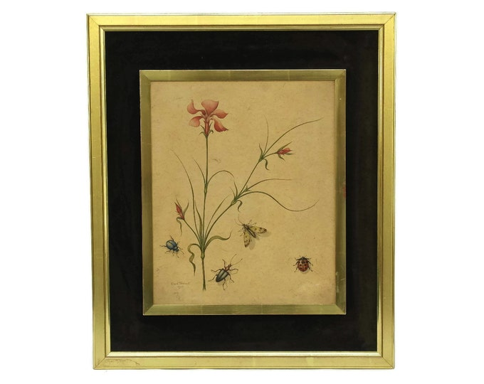 Insect and Flower Watercolor Painting by Erwin Tschudi, Original Framed Signed Wall Art