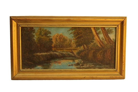 Vintage Autumnal Forest Landscape Painting, French Original Wall Art