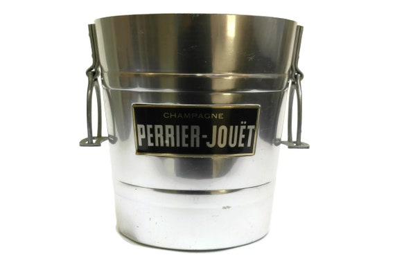 Vintage French Champagne Chiller Ice Bucket with Perrier Jouet Advertising. Bar Decor & Gifts.