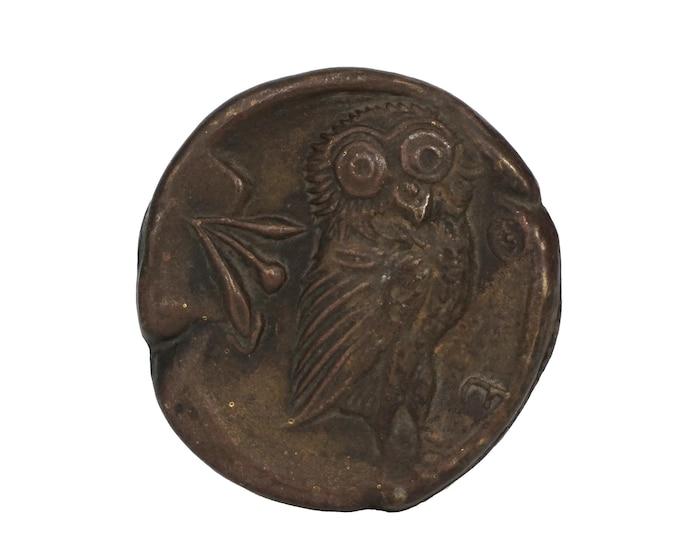 Athenian Owl Medal Paperweight, Vintage Bronze Bird Figure Office Desk Decor
