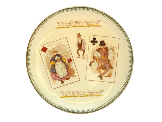 Antique Choisy Le Roi Ceramic Plate with Playing Cards, Queen of Diamonds and King of Clubs, French Faience Wall Plate