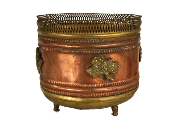 Antique French Copper and Brass Planter, Gifts for Gardner, Indoor Jardiniere and Pot Plant Holder