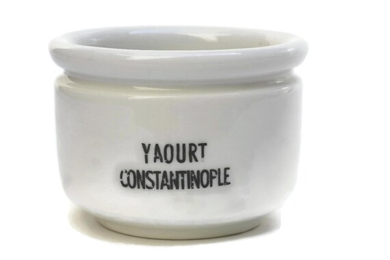 Antique Ironstone Yogourt Pot with French Advertising for Yaourt Constantinople