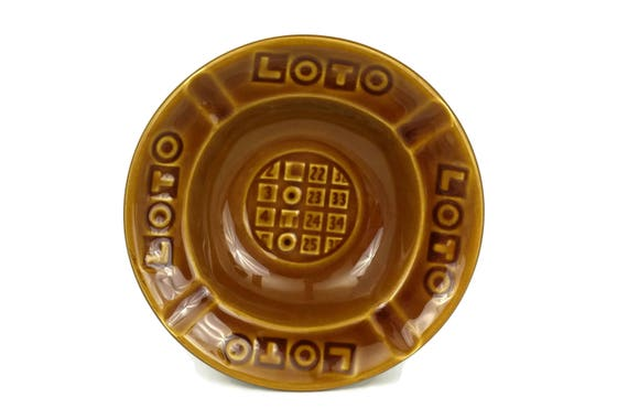 Loto Advertising Ashtray. French Vintage Gien Ceramic Coin Dish.