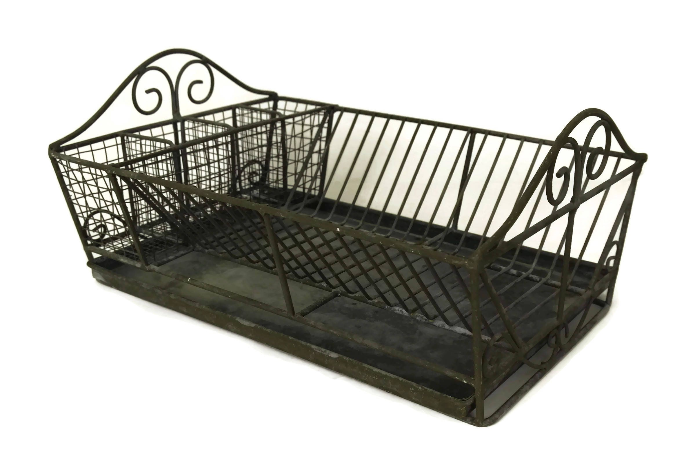 Wire Dish Drying Rack With Drainer Tray Plate Holder Vintage French Rustic Kitchen Decor