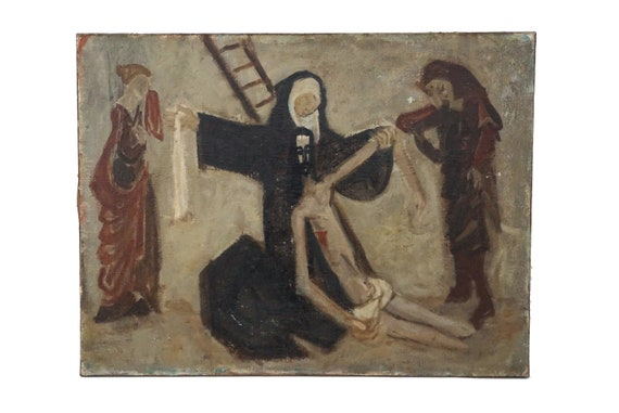 Crucifixion of Jesus Christ with Virgin Mary, Saint John and Mary Magdalene, Christian Wall Hanging Art