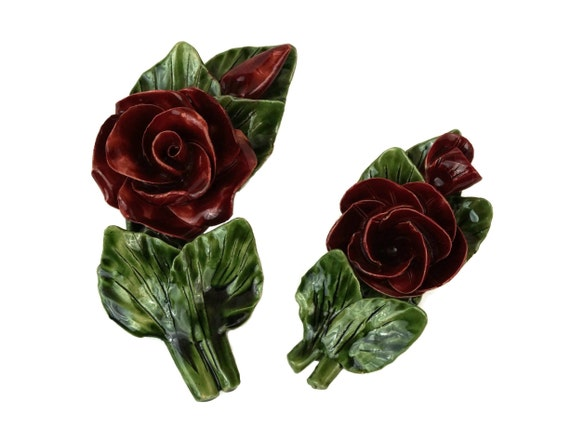 Red Rose Ceramic Flower Ornaments, French Summer Blossom Table Decor