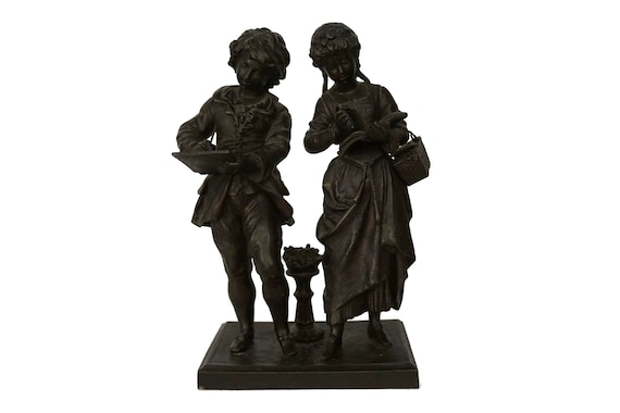 Antique Victorian Children Statuette, French Boy and Girl Figurines
