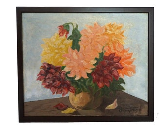 Dahlia Flower Still Life Painting, French Country Floral Bouquet Art