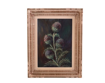 Thistle Still Life Oil Painting, Vintage French Framed and Signed Wild Flower Art
