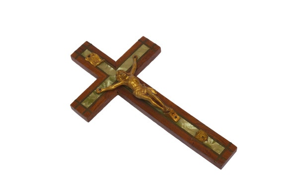 Art Deco Wooden Crucifix, French Antique Hanging Cross with Mother of Pearl Inlay