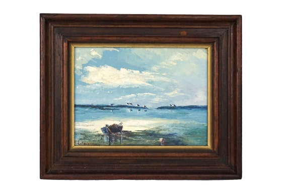 Atlantic Coastal Oil Painting with Fishing Village and Boat, French Brittany Sea Art in Frame