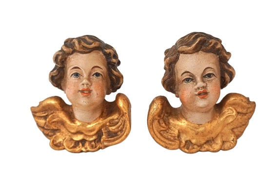 Hand Carved Cherub Putti Head Figurines, German Wooden Christmas Angel Ornaments
