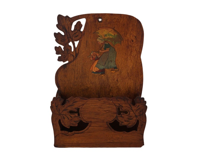 French Antique Mail Organizer Holder with Girl Figures, Art Nouveau Carved Wood Wall Hanging Shelf