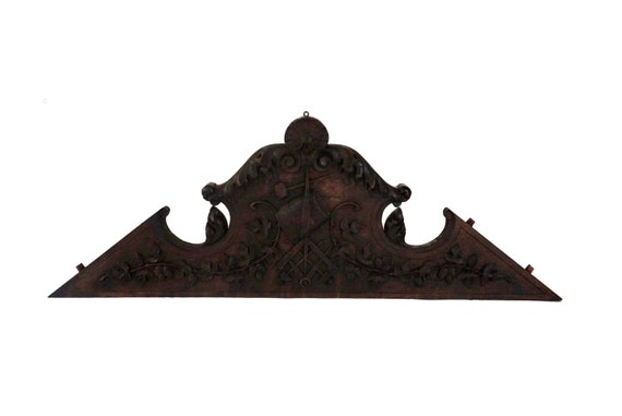 Antique Masonic Carved Wood Pediment, French Free Mason Furniture Ornament, Above Door Decor