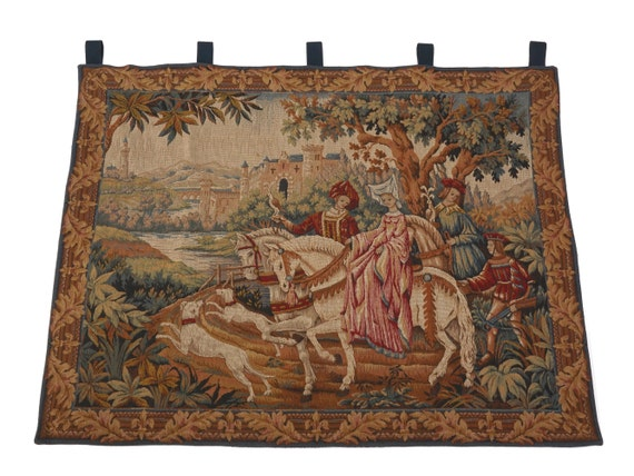 RESERVED for Christina. Vintage French Woven Wall Tapestry, The Royal Hunt by Marc Waymel for the Franklin Mint