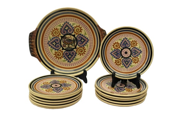 Quimper Cake Service Set by Paul Fouillen, Vintage French Hand Painted Breton Faience Dessert Plates and Platter