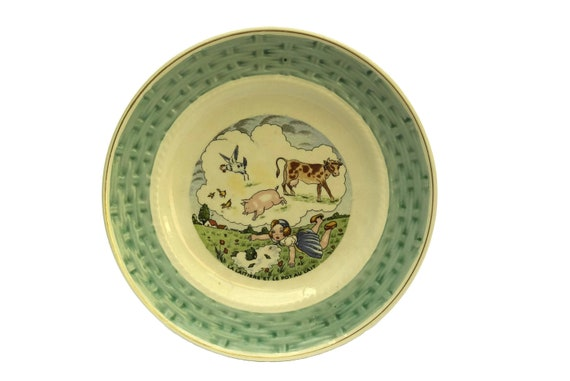 Vintage French La Fontaine Fables Wall Plate, The Milk Maid and Milk Pail