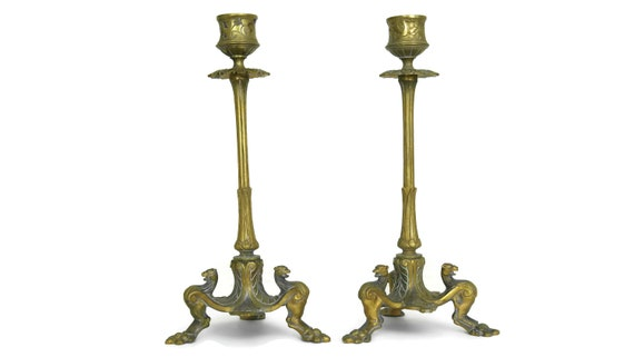 19th Century French Bronze Candlestick Holders