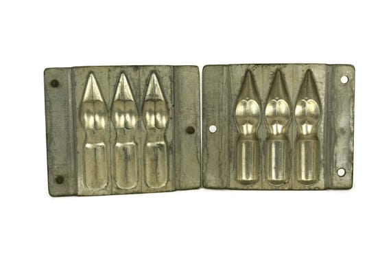 French Antique Chocolate Mold by Anton Reiche, Two Parts Easter Candy Mould with Fountain Pens Nibs, Easter Decor
