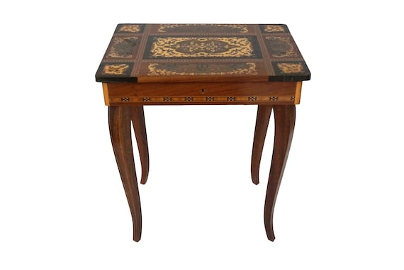 Reuge Music Table Sewing Box, Vintage Italian Intarsia Wood Inlay