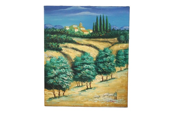 Provence Country Landscape Painting with Village and Shepherd, French Scenic Art