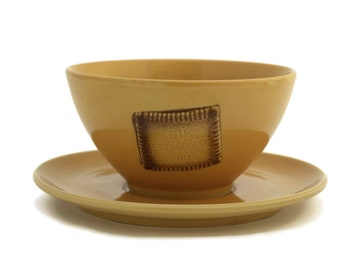 French Cafe au Lait Bowl and Plate with Advertising for Petit Beurre de Lu. Yellow Ceramic Breakfast Set. Rustic Kitchen Decor.