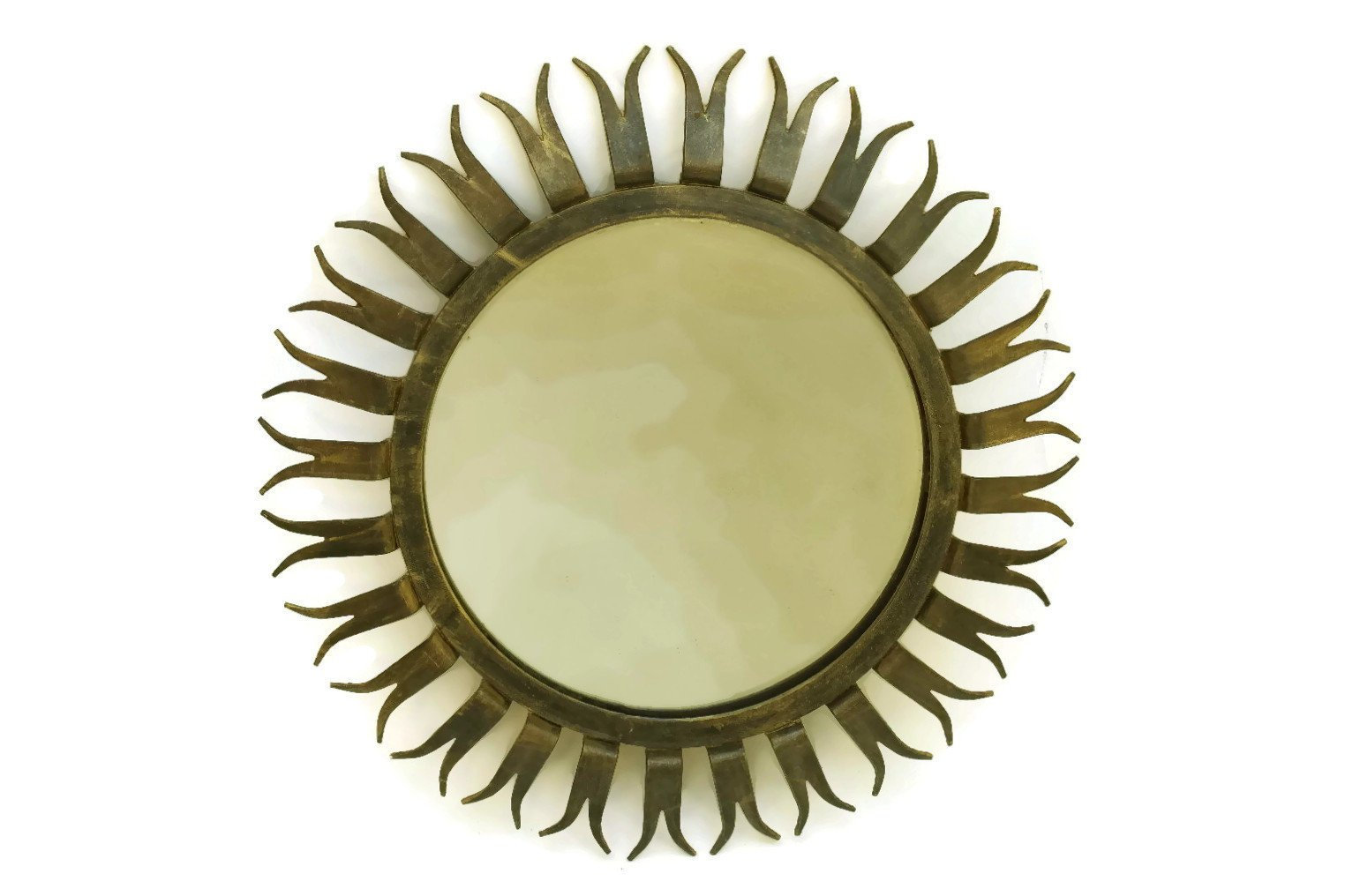 Vintage Sunburst Mirror with Round Black and Gold Metal Frame | Etsy