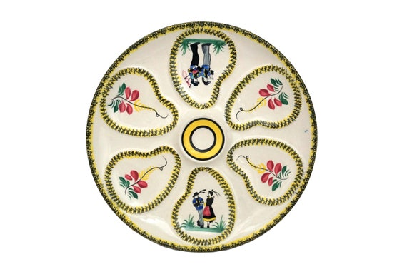 Henriot Quimper Pottery Oyster Wall Plate, Hand Painted French Breton Faience