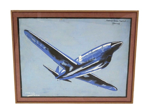 Vintage French Caudron Airplane Painting, Gouache on Paper, Mid Century Wall Art, Boys Room Decor